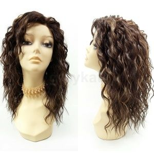 Brown lace front curly heat resistant wig